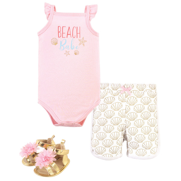 Little Treasure Cotton Bodysuit, Pant and Shoe Set, Beach Babe