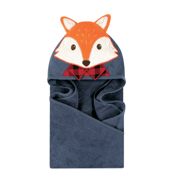 Little Treasure Cotton Animal Face Hooded Towel, Lumberjack Fox