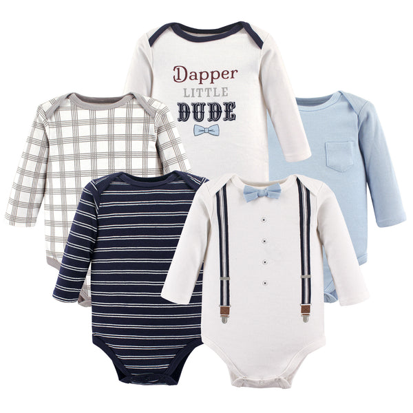 Little Treasure Cotton Bodysuits, Dapper Bow Tie Long-Sleeve