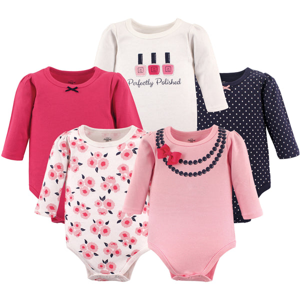 Little Treasure Cotton Bodysuits, Bow Necklace Long-Sleeve