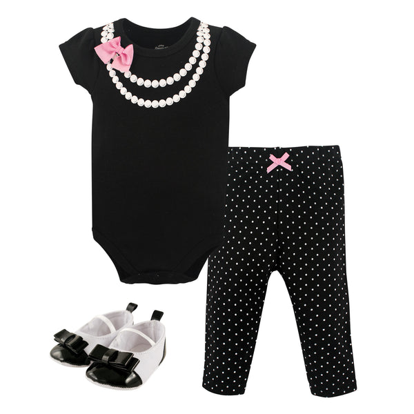 Little Treasure Cotton Bodysuit, Pant and Shoe Set, Pearls Short-Sleeve