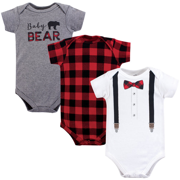Little Treasure Cotton Bodysuits, Lumberjack Bow Tie Short-Sleeve