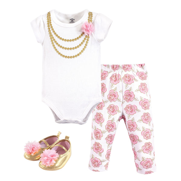 Little Treasure Cotton Bodysuit, Pant and Shoe Set, Gold Roses Short-Sleeve