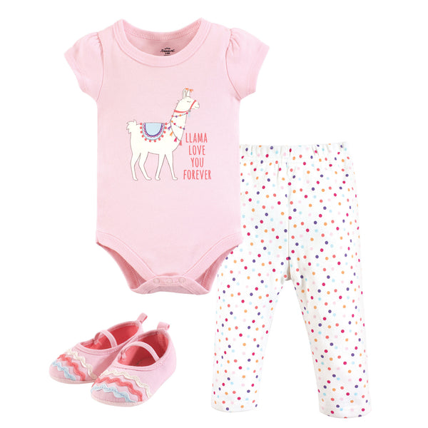 Little Treasure Cotton Bodysuit, Pant and Shoe Set, Llama Love