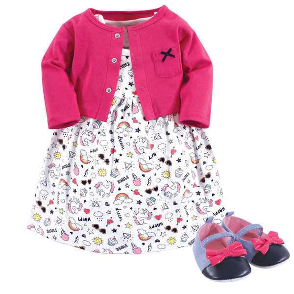 Little Treasure Cotton Dress, Cardigan and Shoe Set, Happy Rainbow
