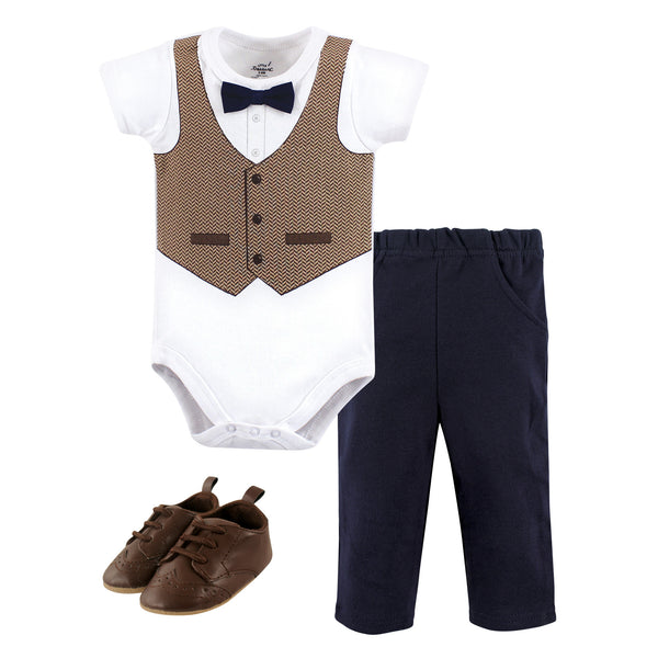 Little Treasure Cotton Bodysuit, Pant and Shoe Set, Herringbone Vest Short-Sleeve