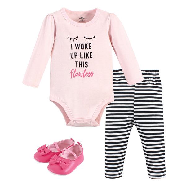 Little Treasure Cotton Bodysuit, Pant and Shoe Set, Flawless