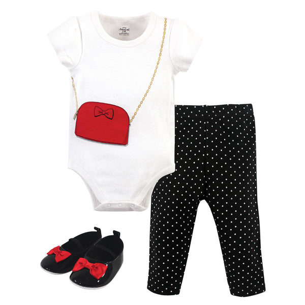 Little Treasure Cotton Bodysuit, Pant and Shoe Set, Red Purse