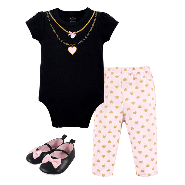 Little Treasure Cotton Bodysuit, Pant and Shoe Set, Heart Necklace