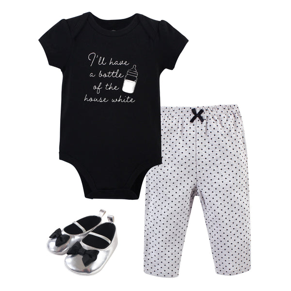 Little Treasure Cotton Bodysuit, Pant and Shoe Set, Bottle