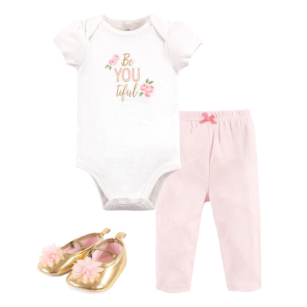 Little Treasure Cotton Bodysuit, Pant and Shoe Set, Beyoutiful