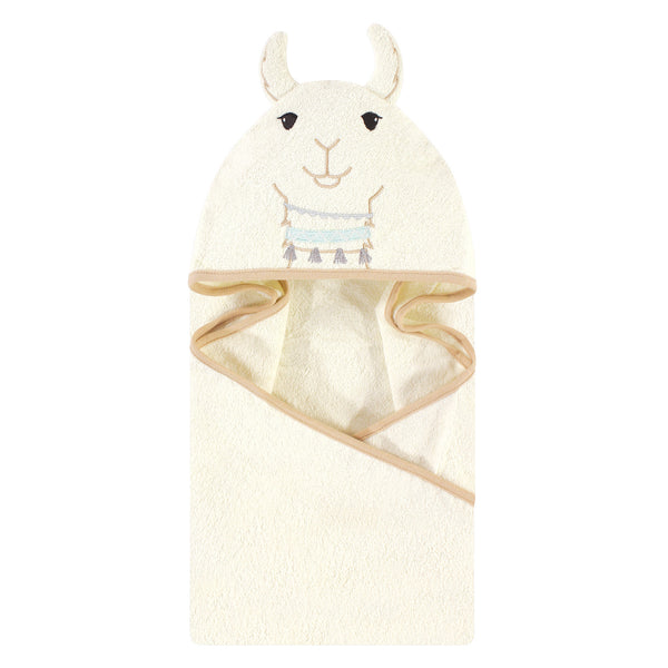 Little Treasure Cotton Animal Face Hooded Towel, Neutral Llama