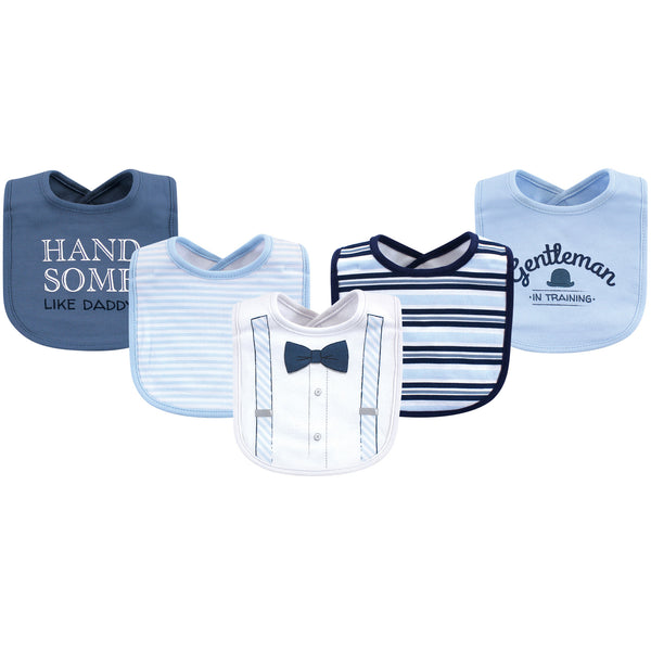 Little Treasure Cotton Bibs, Light Blue Suspenders