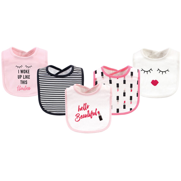 Little Treasure Cotton Bibs, Lipstick 5-Pack