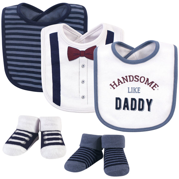 Little Treasure Cotton Bib and Sock Set, Handsome Daddy