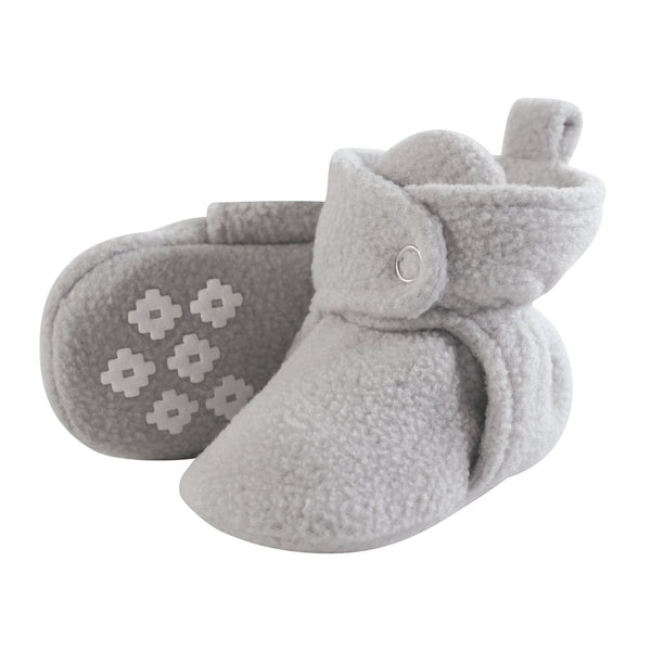 Little Treasure Cozy Fleece Booties, Light Gray