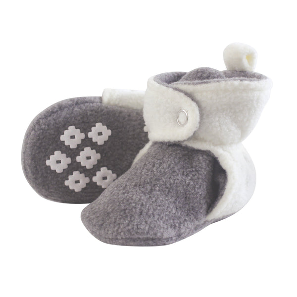 Little Treasure Cozy Fleece Booties, Heather Gray Cream