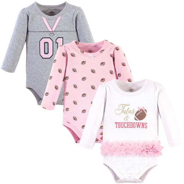 Little Treasure Cotton Bodysuits, Tutus Touchdowns 3-Pack