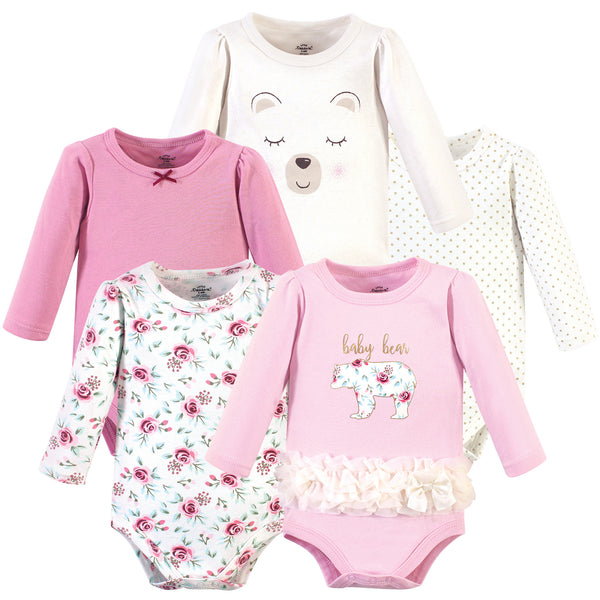Little Treasure Cotton Bodysuits, Floral Baby Bear 5-Pack