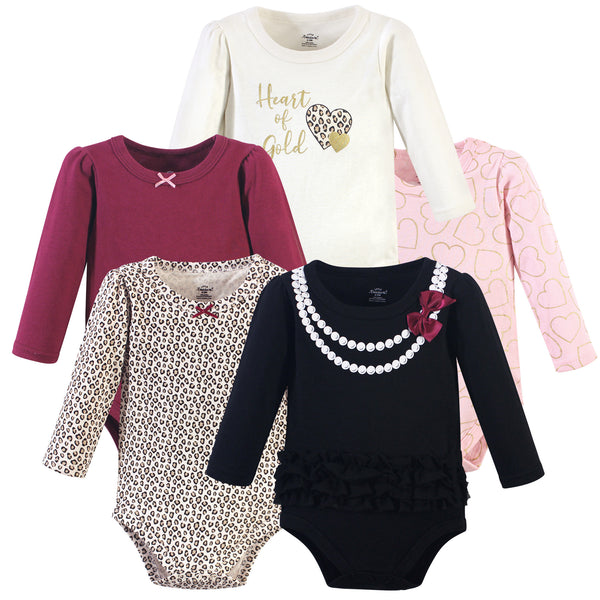 Little Treasure Cotton Bodysuits, Black Heart Of Gold 5-Pack