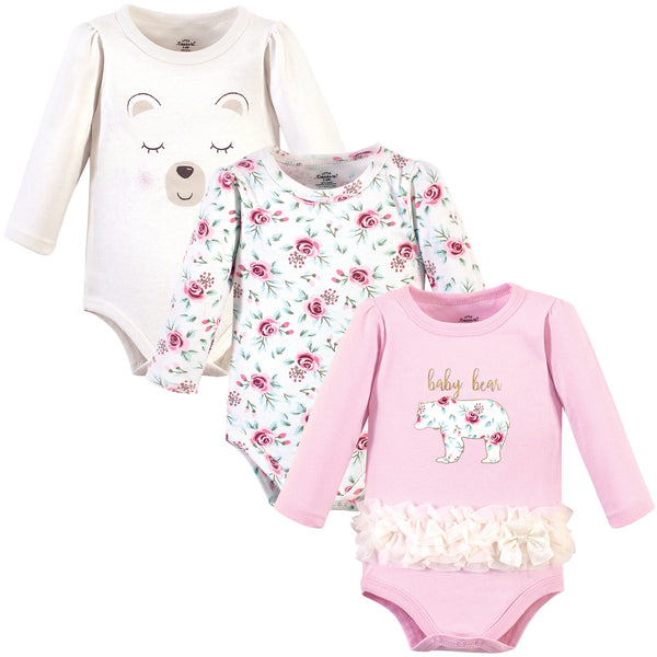 Little Treasure Cotton Bodysuits, Floral Baby Bear 3-Pack