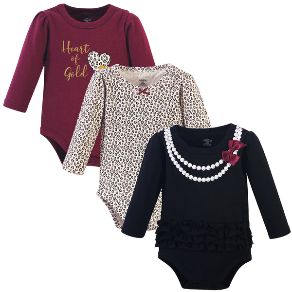 Little Treasure Cotton Bodysuits, Burgundy Heart Of Gold 3-Pack