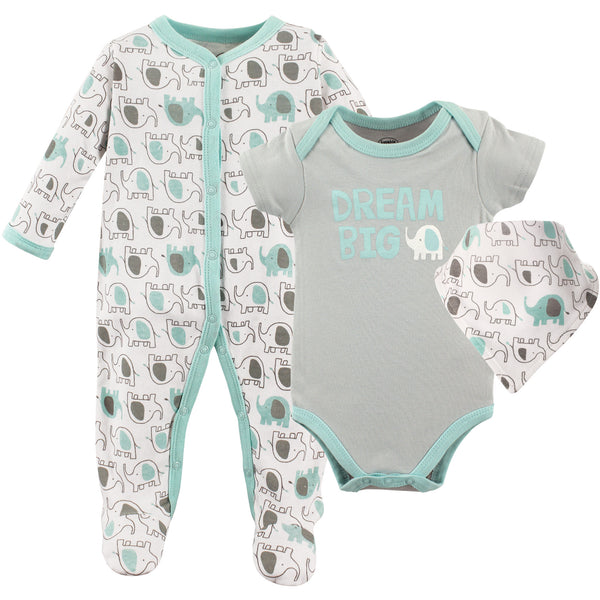 Luvable Friends Sleep and Play, Bodysuit and Bib, Elephants