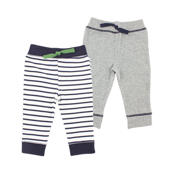 Yoga Sprout Cotton Pants, Navy Stripe