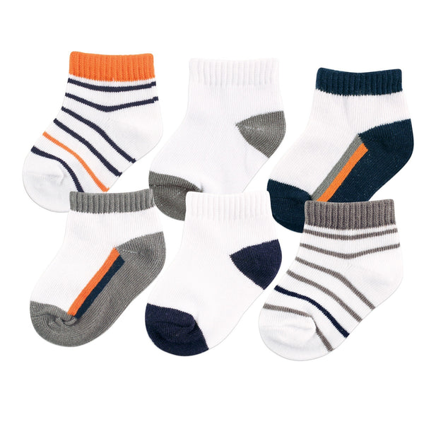 Yoga Sprout Socks, Orange Charcoal 6-Pack