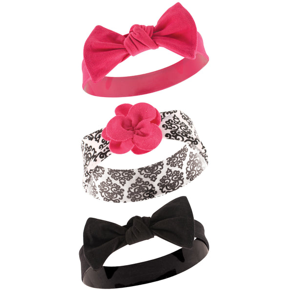 Yoga Sprout Cotton Headbands, Black Damask