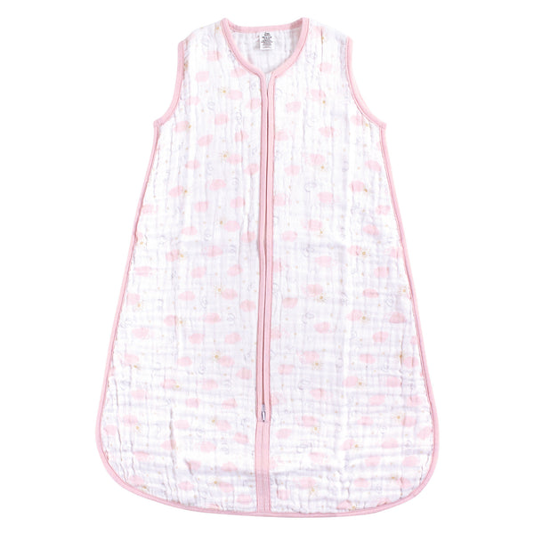 Yoga Sprout Sleeveless Muslin Cotton Sleeping Bag, Sack, Blanket, Pink Sky
