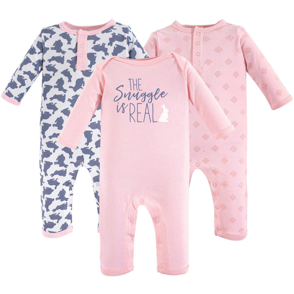 Yoga Sprout Cotton Coveralls, Snuggle Bunny