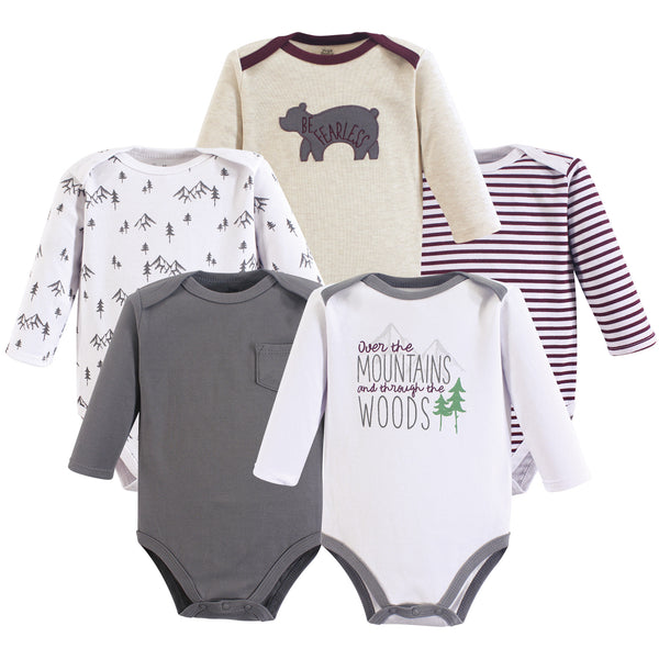 Yoga Sprout Cotton Bodysuits, Mountains Long-Sleeve