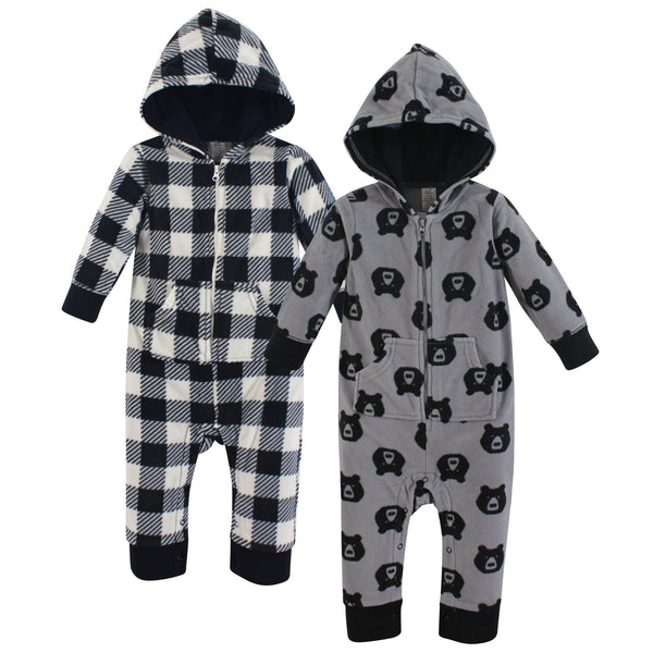 Yoga Sprout Hooded Fleece Jumpsuits, Bear Baby