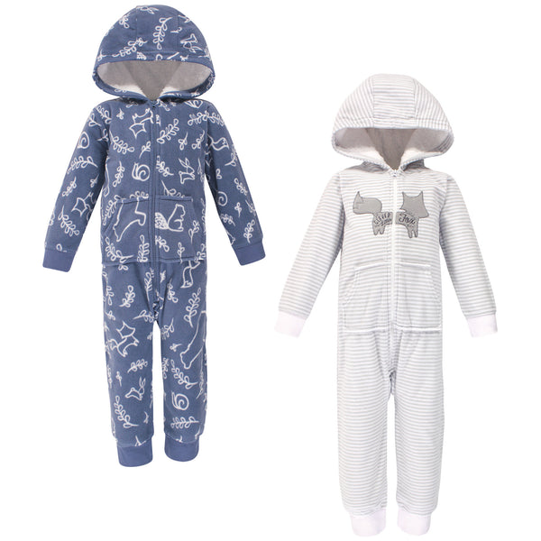 Yoga Sprout Hooded Fleece Jumpsuits, Forest Toddler