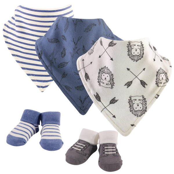 Yoga Sprout Cotton Bandana Bibs and Socks, Wild Woodland