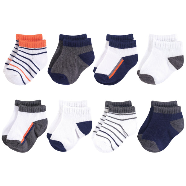 Yoga Sprout Socks, Orange Charcoal 8-Pack