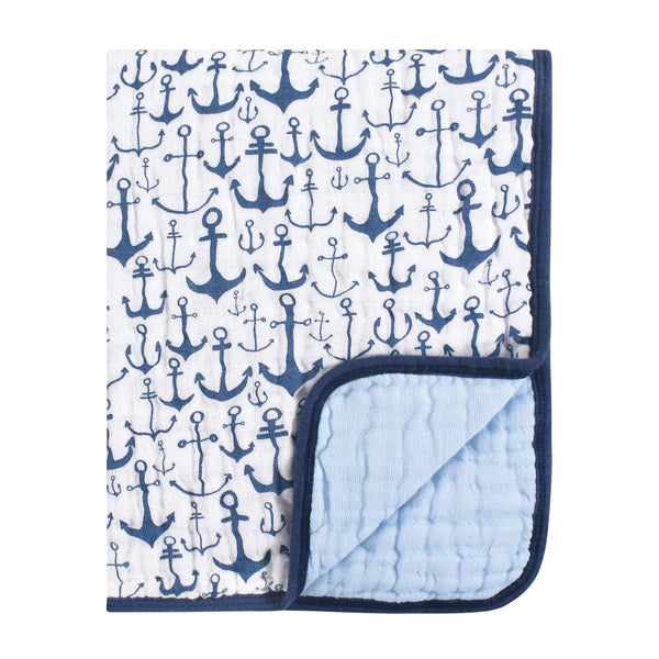 Yoga Sprout Cotton Muslin Tranquility Quilt Blanket, Blue Anchor