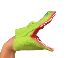 mouth open green gator puppet