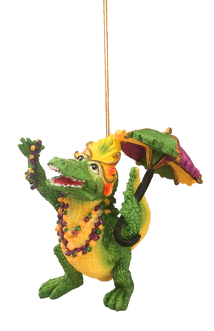 Mardi Gras Parade Gator Ornament - 2 sizes