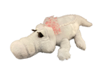 Albino white plush girly gator with pink bow and eyelashes
