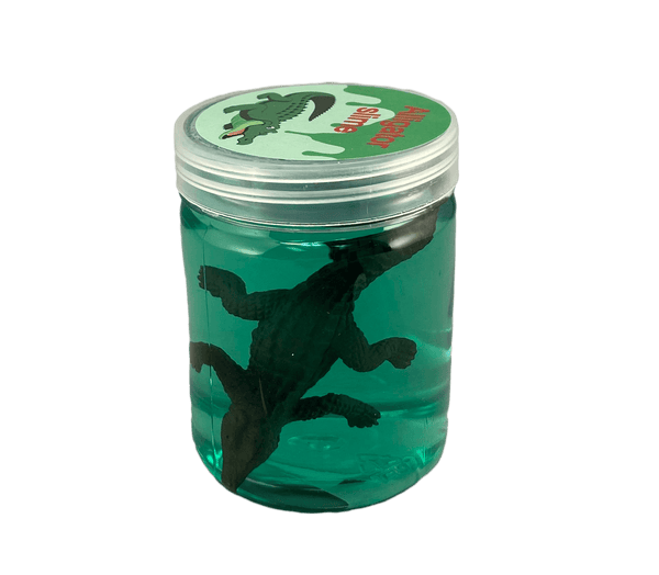 alligator and slime in jar