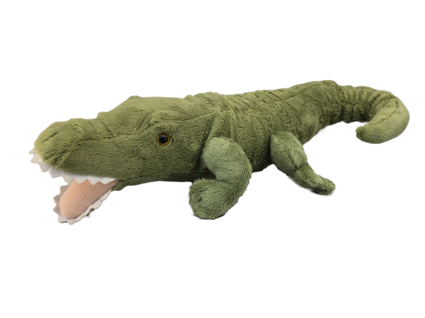 Curly-tailed, artist-designed alligator plush toy