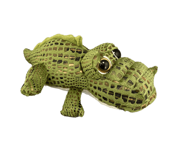 Box-shaped cartoon plush gator with bronze scales