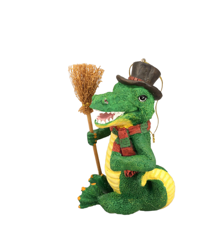 alligator top hat broom ornament