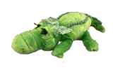 Green plush girly gator with green polka dot bow and eyelashes