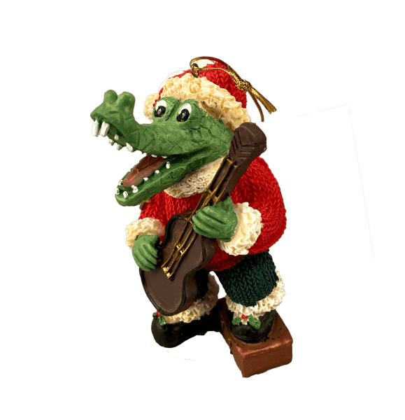 santa alligator guitar ornament