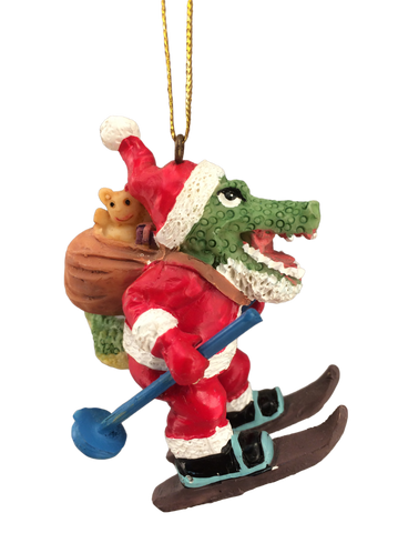 skiing alligator santa ornament