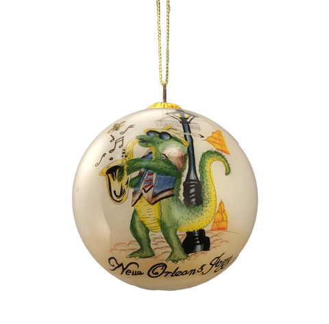 alligator jazz ball ornament