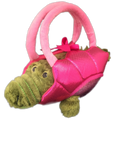 plush alligator toy in pink basket holder